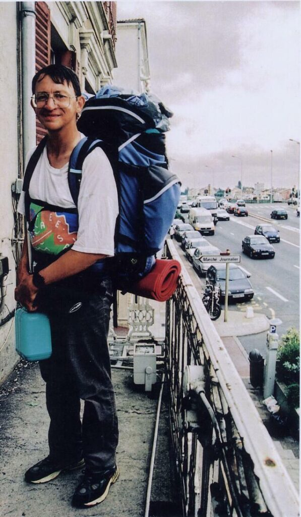 Photo de Patric Huet avec so nsac à daosà Mâcon.